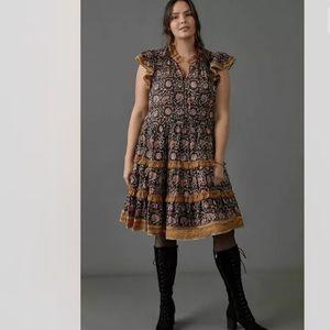 Anthropologie Almeria Ruffled Dress NWT 1X HTF